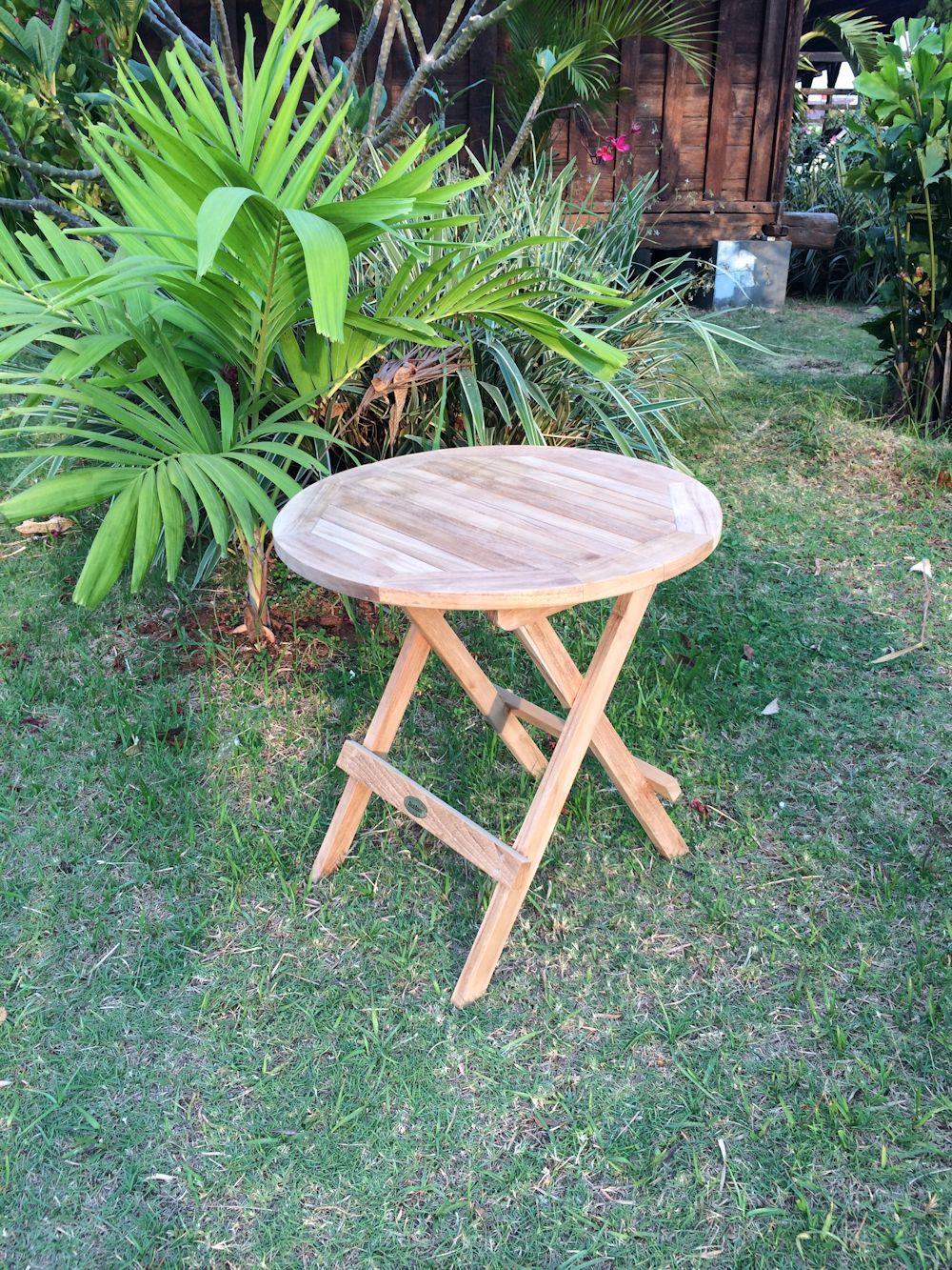 teak massiv picnic tisch beistelltisch rund ebay. Black Bedroom Furniture Sets. Home Design Ideas