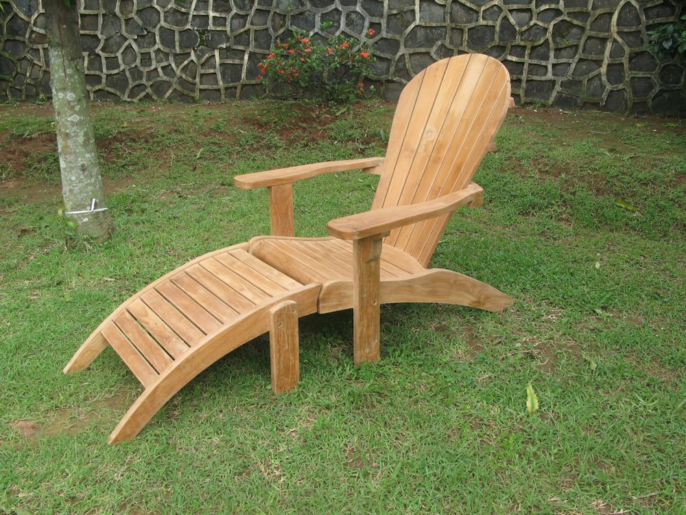 teak liegestuhl sonnenliege deckchair adirondack ebay. Black Bedroom Furniture Sets. Home Design Ideas
